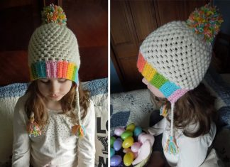 Rainbow Easter Bonnet Hat Crochet Free Pattern
