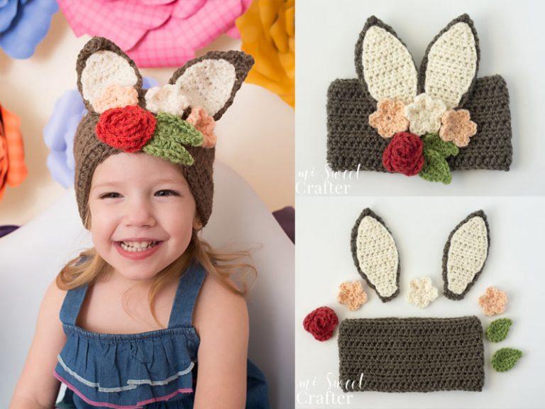 Semi Sweet Crafter Floral Bunny Headband Free Crochet Pattern
