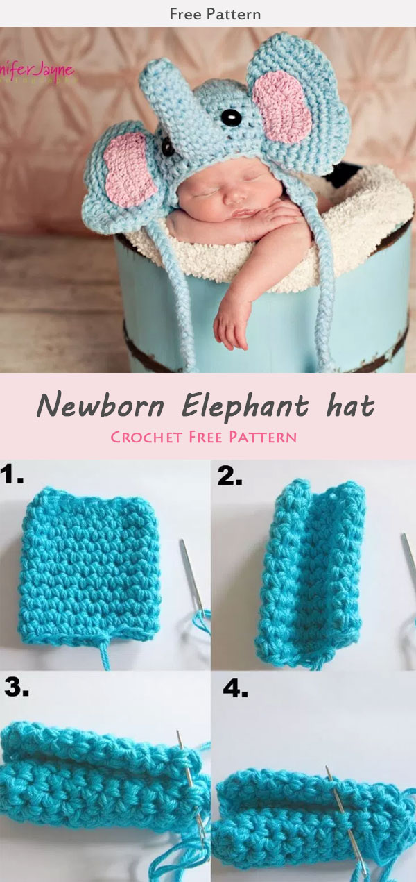 Newborn Elephant hat Crochet Free Pattern