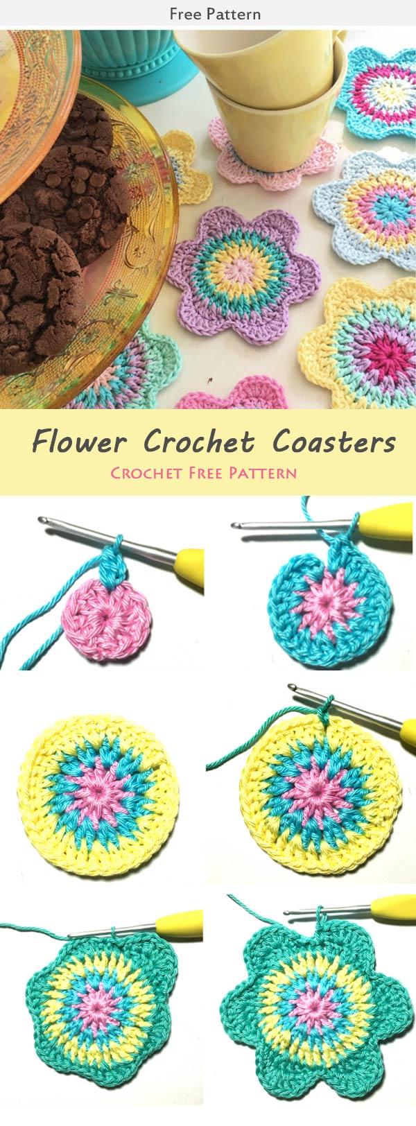 Flower Crochet Coasters Crochet Free Pattern
