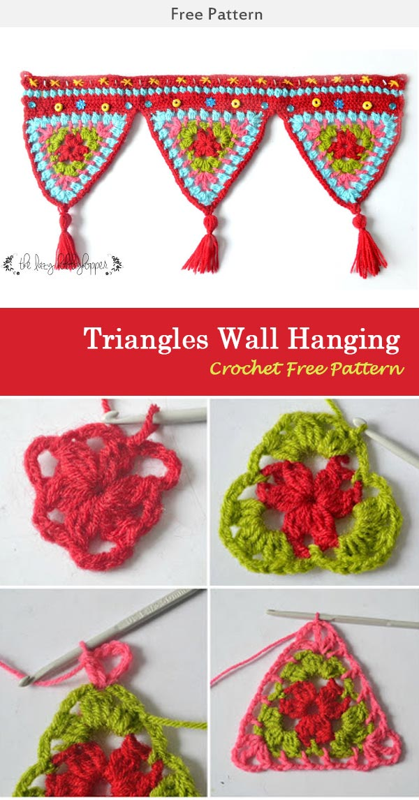 Triangles Wall Hanging Crochet Free Pattern