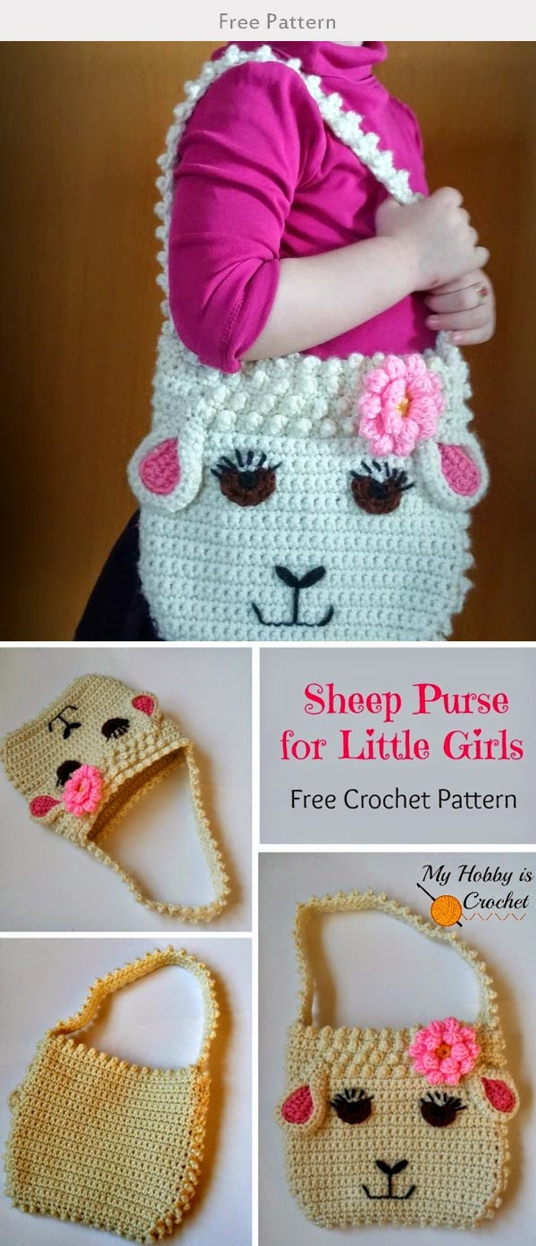 Darling Sheep Crochet Purse for Little Girls Crochet Free Pattern