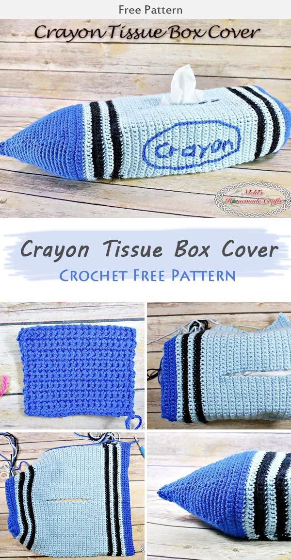 Crayon Tissue Box Cover Crochet Free Pattern
