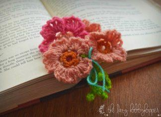 Pretty little flowers bookmark Crochet Free Pattern