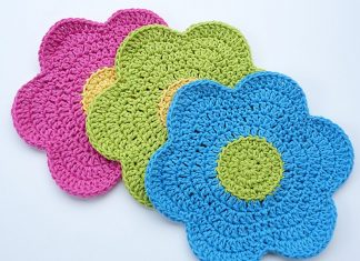 Flower Power Dishcloth Crochet Free Pattern
