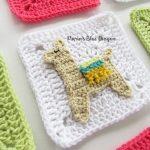 Llama Granny Square Crochet Free Pattern