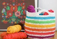 Rainbow Storage Basket Crochet Free Pattern