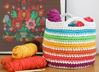 Rainbow Storage Basket Crochet Free Pattern