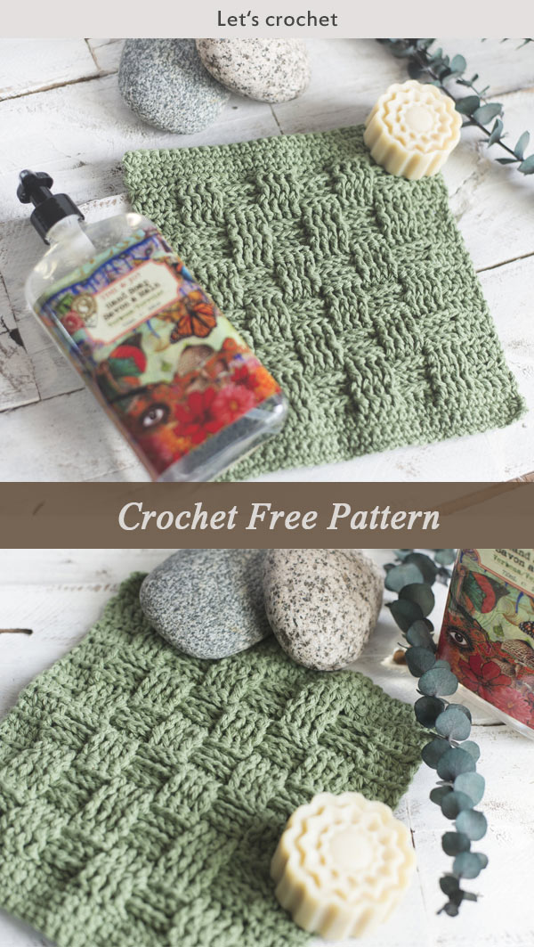 Basket Weave Stitch Washcloth Crochet Free Pattern