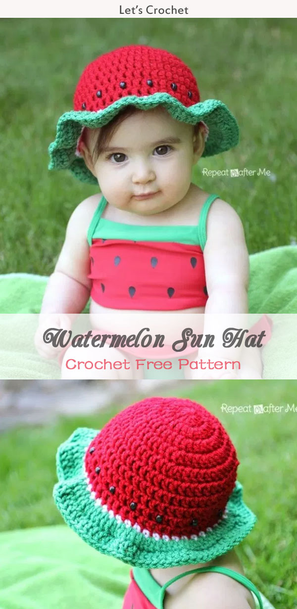 Kid S Watermelon Sun Hat Crochet Free Pattern