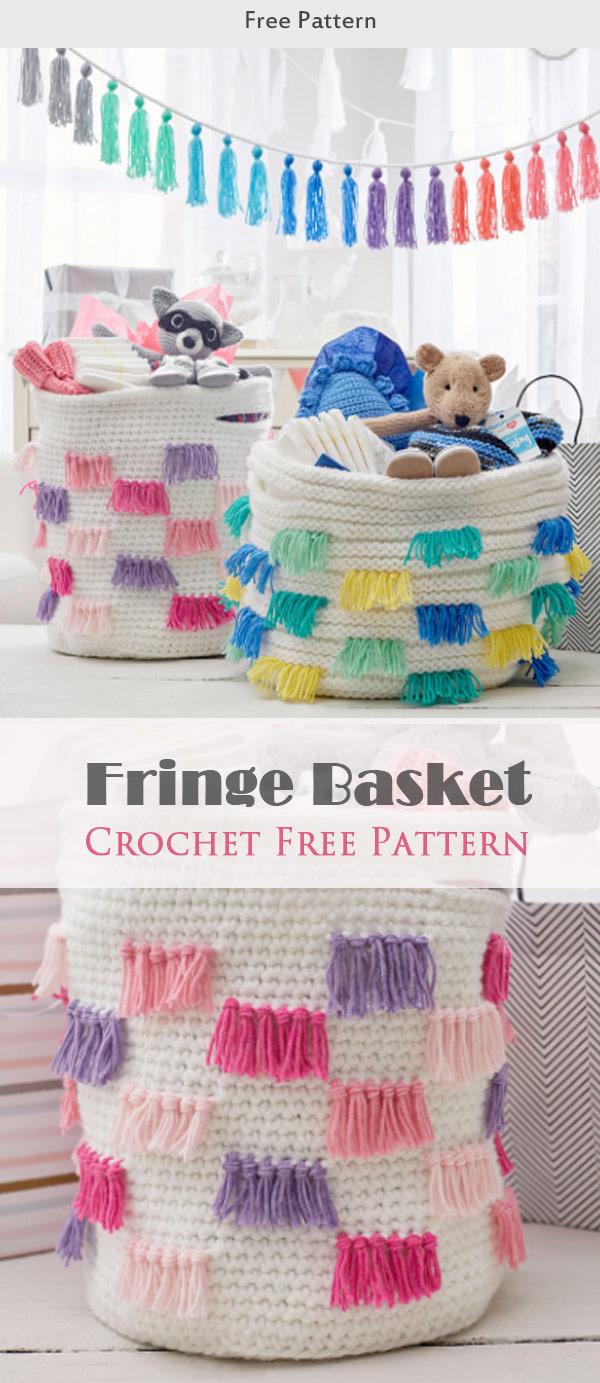 Fringe Basket Crochet Free Pattern