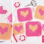 Heart Granny Square Crochet Free Pattern