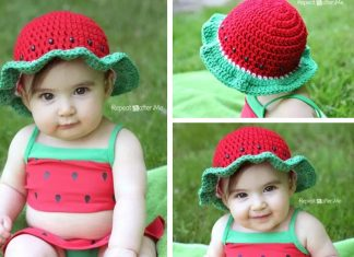 Kid 's Watermelon Sun Hat Crochet Free Pattern