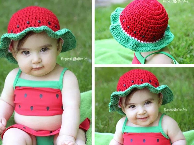 Kid S Watermelon Sun Hat Crochet Free Pattern
