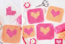 Heart Granny Square Crochet Free Pattern