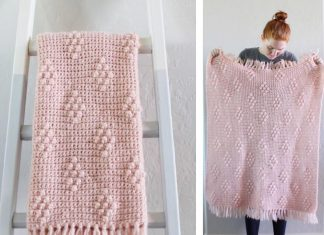 Bobble Polka Dot Blanket Crochet Free Pattern