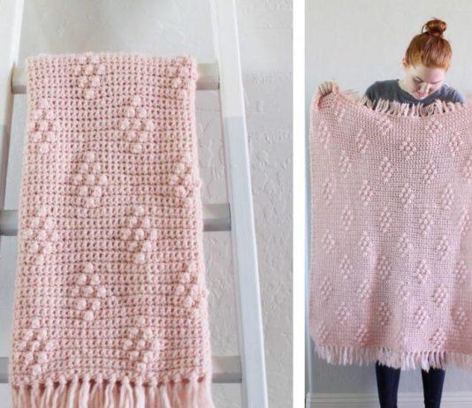Bobble Polka Dot Blanket Crochet Free Pattern