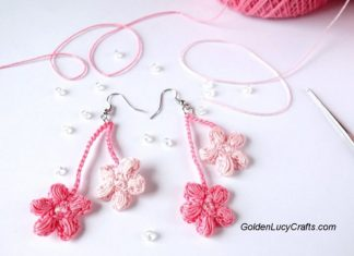 Cherry Blossom Earrings Crochet Free Pattern