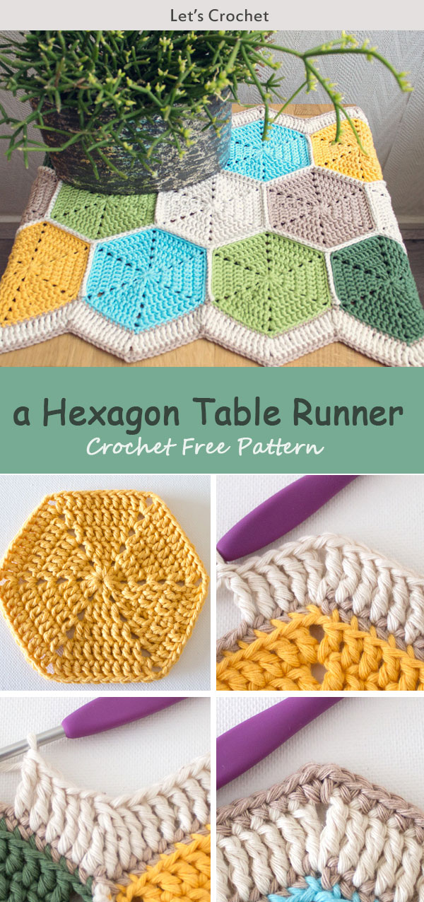 A Hexagon Table Runner Crochet Free Pattern