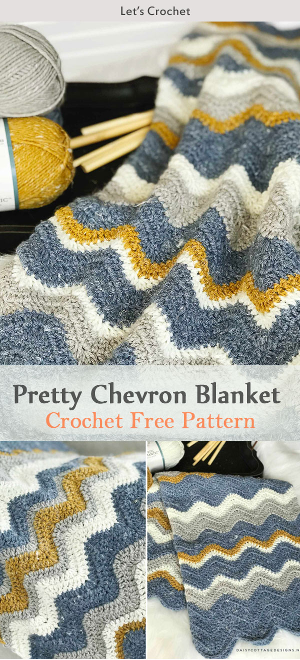 Pretty Chevron Blanket Crochet Free Pattern