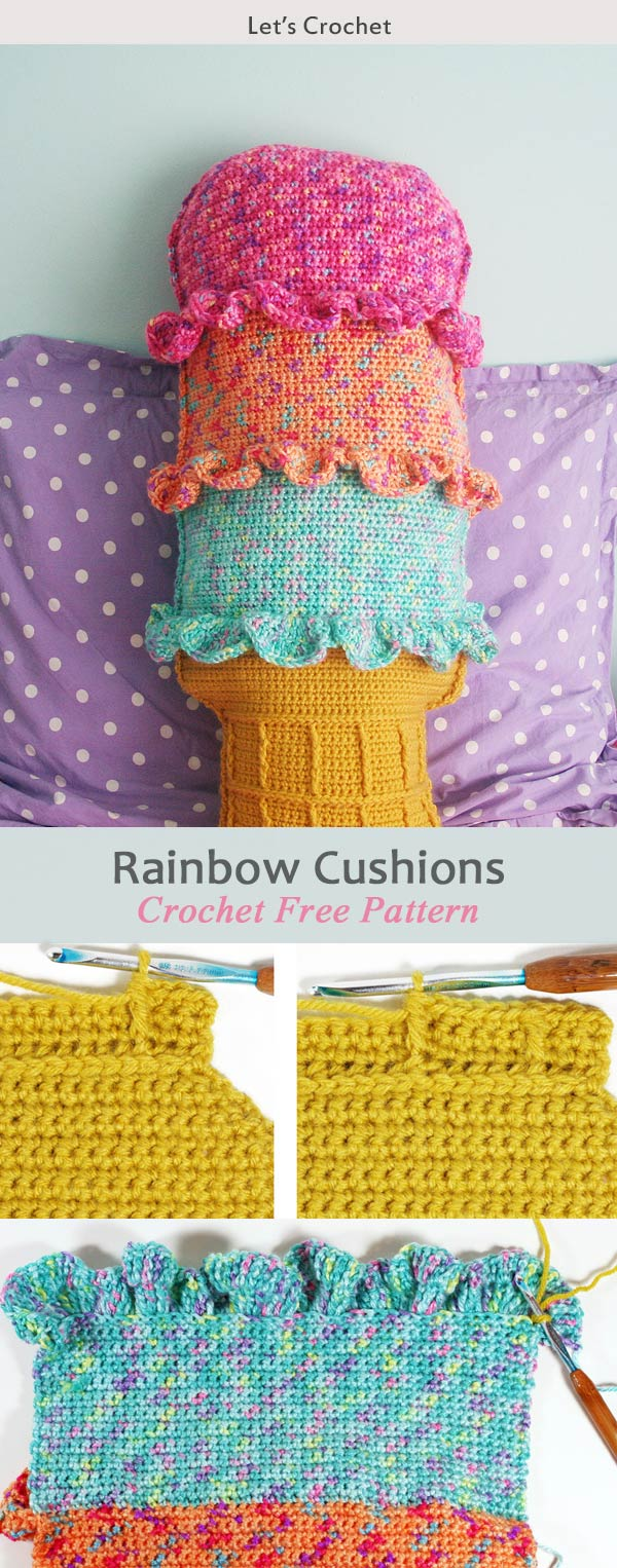 Chevron Cushions and Rainbow Sherbet Throw Pillow Crochet Free Pattern