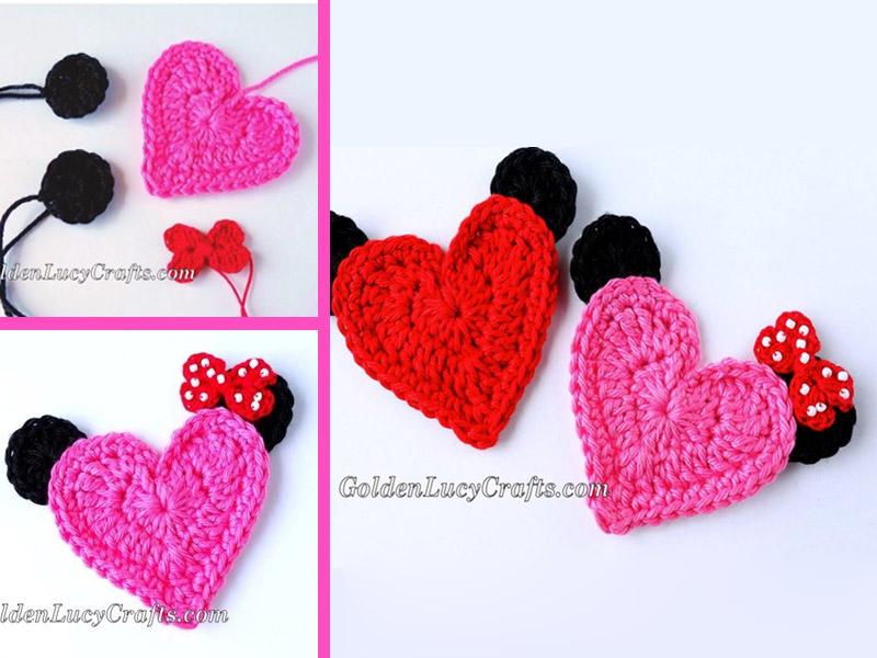 Mickey Mouse Heart Applique Crochet Free Pattern