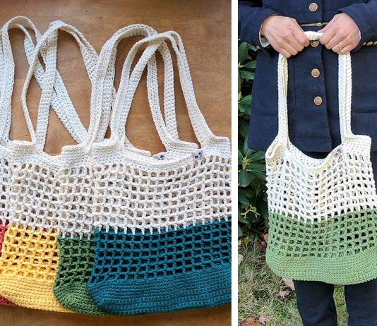 Color Block Market Bag Crochet Free Pattern