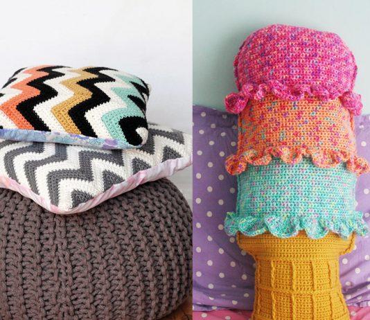 Chevron Cushions and Rainbow Sherbet Throw Pillow Crochet Free Pattern