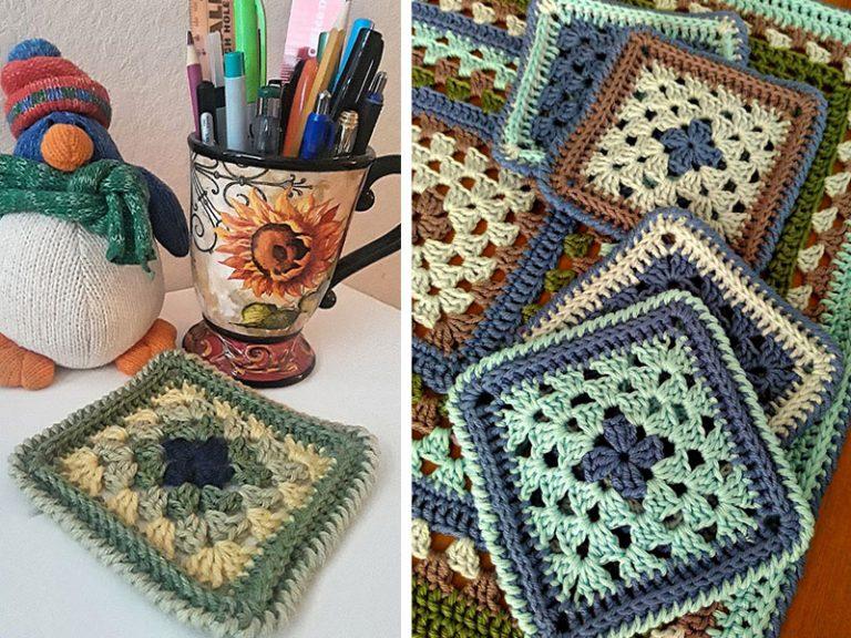 Granny Square Coaster Crochet Free Pattern
