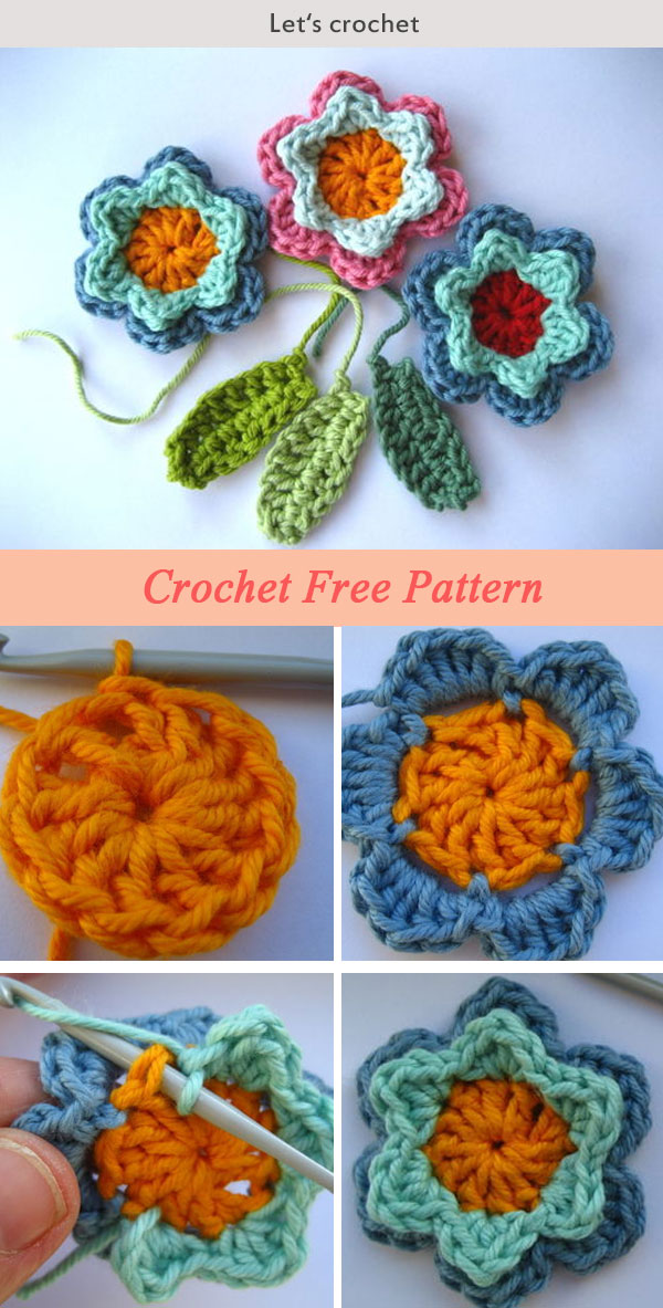 Crochet Flowers And Leaves Free Pattern