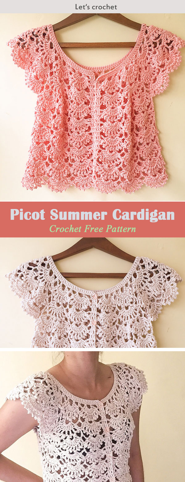 Picot Fan Summer Cardigan Crochet Free Pattern