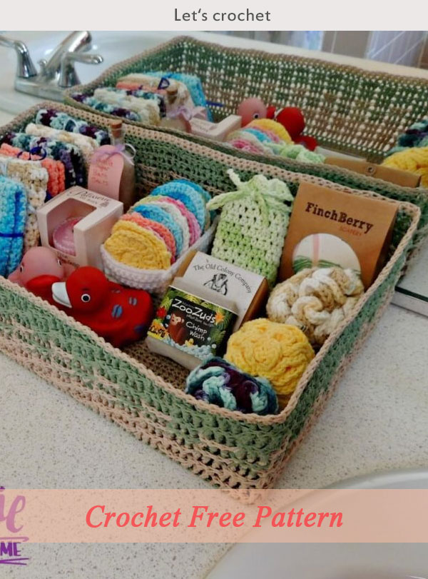 Spa Basket Crochet Free Pattern