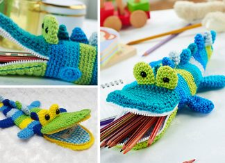 Crocodile Pen Container Crochet Free Pattern