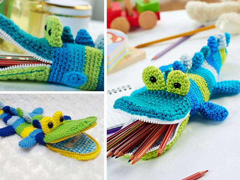 Crocodile Pen Container Toy Crochet Free Pattern