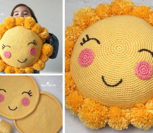 Crochet Pompom Sunshine Pillow Free Pattern