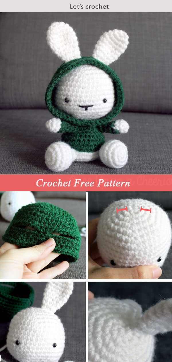 Cute Bunny in the Hood Crochet Free Pattern