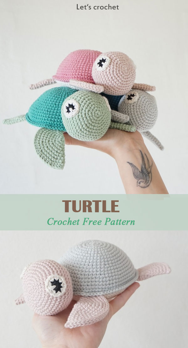 Crochet Pattern Cute Turtle Amigurumi PDF | 1110x600