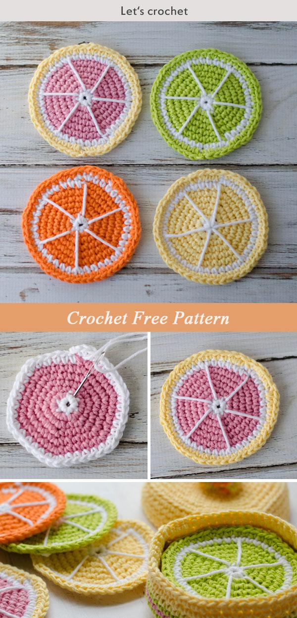 Crochet Citrus Fruits Coasters Free Pattern
