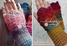 Crochet Fantail Shell Stitch Fingerless Gloves Free pattern