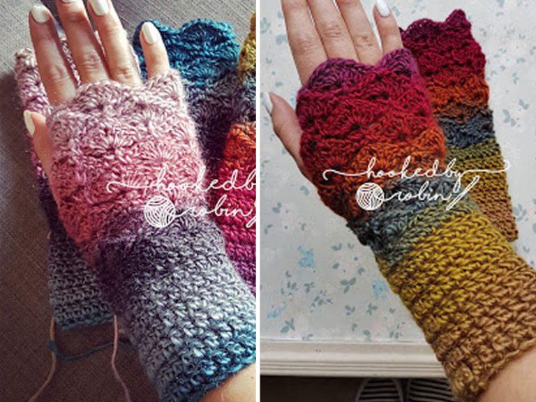 Crochet Fantail Shell Stitch Fingerless Gloves Free pattern