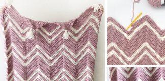Crochet Pink Chevron Throw Free Pattern