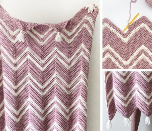 Crochet Pink Chevron Throw Free Pattern