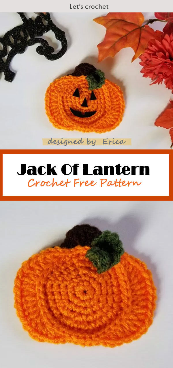 Crochet Jack Of Lantern Applique Free Pattern