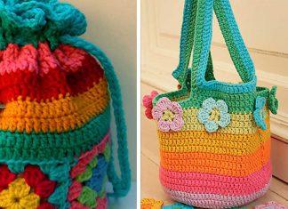 Crochet Color Flower Bag Purse Free Pattern