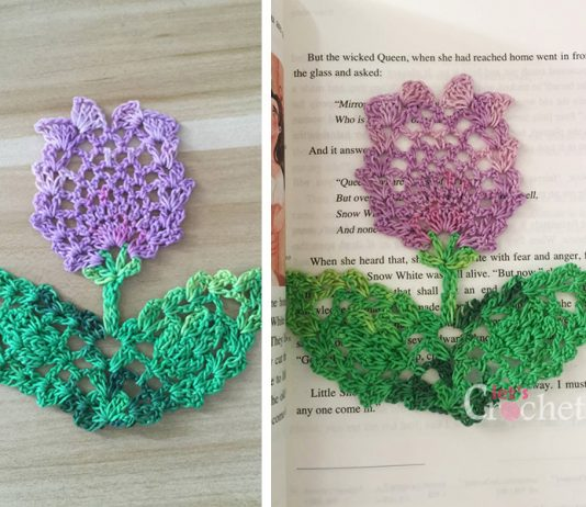Crochet Flower Bookmark Free Diagram