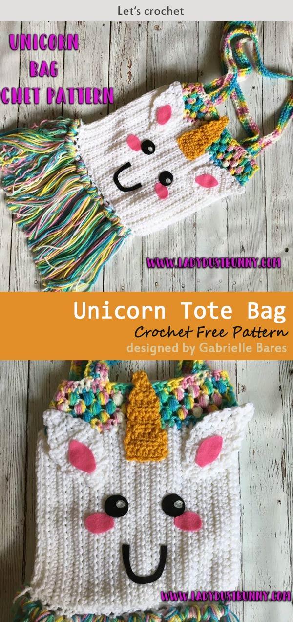 Unicorn Tote Bag Crochet Free Pattern