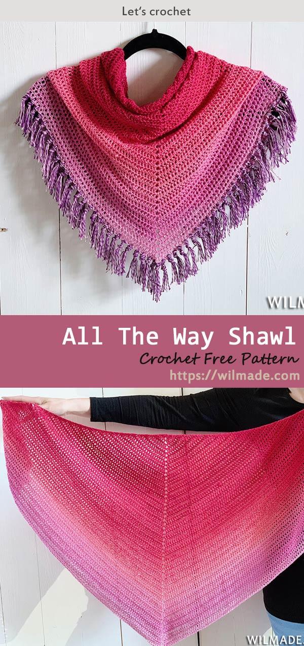 All The Way Shawl Crochet Free Pattern