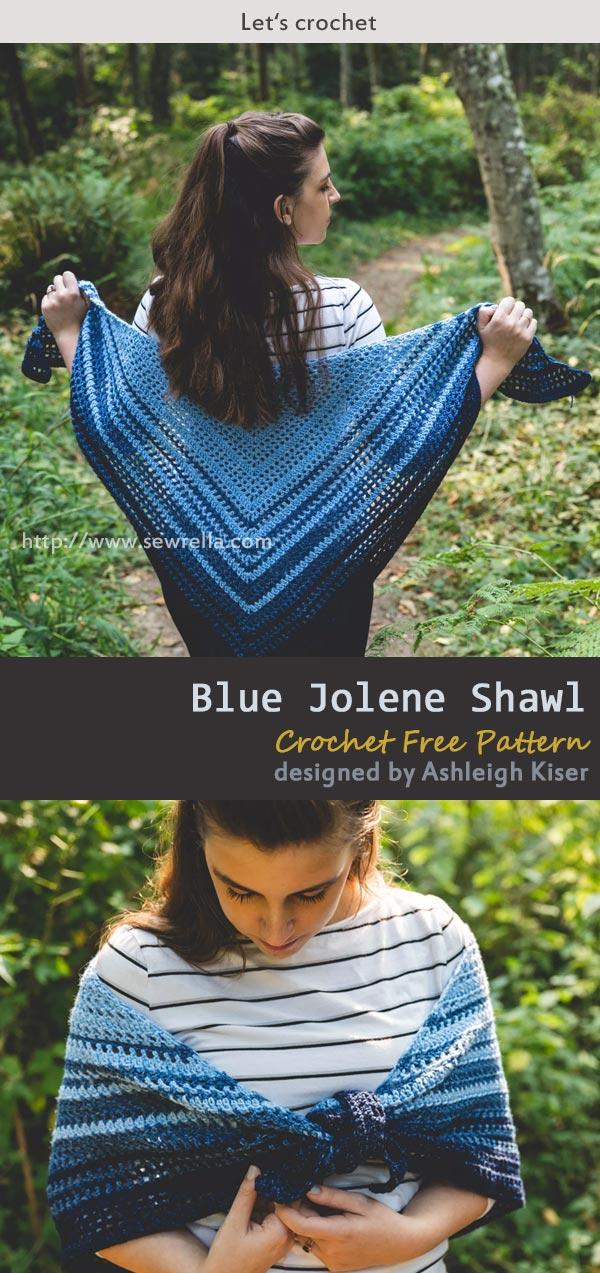 Blue Jolene Shawl Crochet Free Pattern
