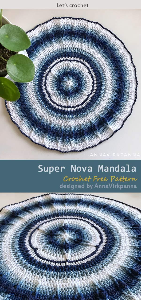 Super Nova Mandala Crochet Free Pattern