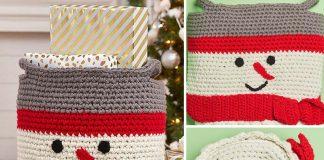 Snowman Basket Crochet Free Pattern